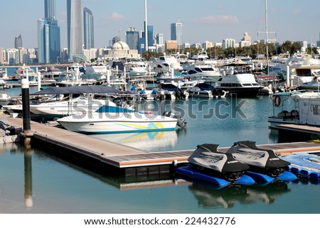 Abu Dhabi Marina, United Arab Emirates - October, 2014: Abu Dhabi Marina is a place for yachting, jet ski and other water sports.