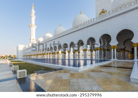 Abu Dhabi. Sheikh Zayed Grand Mosque - stock photo