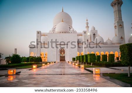 Abu Dhabi Sheikh Zayed White Mosque. UAE - stock photo