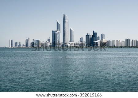 Abu Dhabi skyline, United Arab Emirates - stock photo