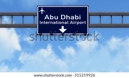 Abu Dhabi UAE Airport Highway Road Sign 3D Illustration - stock photo