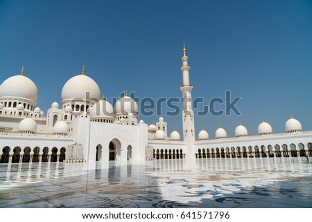 Abu Dhabi, UAE - April 2017: Sheikh Zayed Grand Mosque is located in Abu Dhabi, the capital city of the United Arab Emirates. It is the key site for people to worship in the Nation.