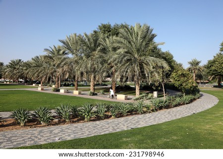ABU DHABI, UAE - JAN 14: Park near Al Jahili fort in Al Ain. January 13, 2012 in Abu Dhabi, United Arab Emirates