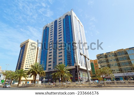 ABU DHABI, UAE - MARCH 25: Streets of Abu Dhabi on March 25, 2014, UAE. Abu Dhabi is the capital and the second most populous city in the United Arab Emirates with around 1 million people. - stock photo