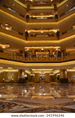 ABU DHABI, UAE - NOVEMBER 23: Emirates Palace hotel on November 23, 2014. Emirates Palace is a luxurious and the most expensive 7 star hotel designed by John Elliott RIBA. - stock photo