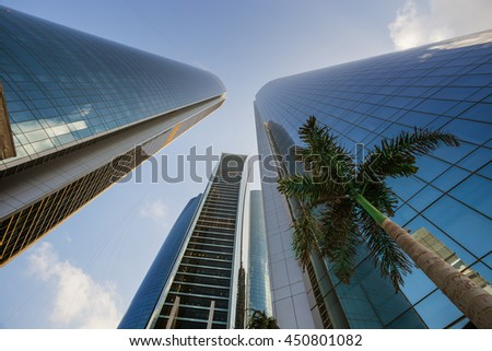 ABU DHABI, UAE - NOVEMBER 5: Etihad Towers on November 5, 2013 in Abu Dhabi, UAE. Etihad Towers is the name of a complex of buildings with five towers in Abu Dhabi, the capital city of UAE. - stock photo