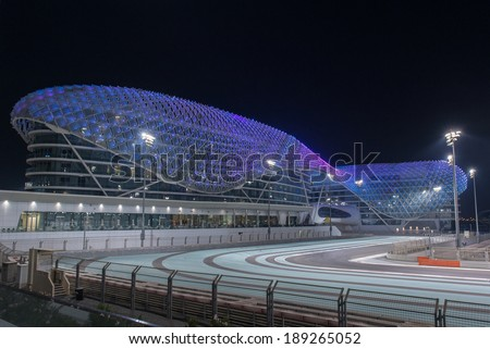ABU DHABI, UAE - SEPTEMBER 30: The Yas Marina Formula 1 Grand Prix Circuit taken on 30th September 2013 in Abu Dhabi. The Yas Viceroy Hotel is the only current 5* hotel built across a racing circuit. - stock photo