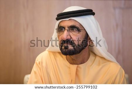 ABU DHABI, UNITED ARAB EMIRATES - Feb 24, 2015: Prime Minister of the United Arab Emirates Mohammed bin Rashid Al Maktoum, during a meeting with the President of Ukraine Petro Poroshenko - stock photo