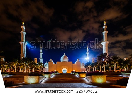 ABU DHABI, UNITED ARAB EMIRATES - OCTOBER 23,2014 :Sheikh Zayed mosque in Abu-Dhabi, one of the most famous landmark of United Arab Emirates. Picture taken on October 19, 2014..