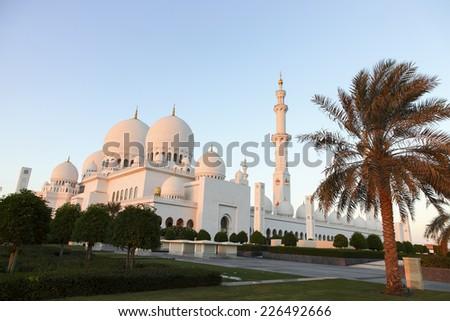 abu dhabi zayed mosque united emirate - stock photo