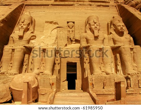Abu Simbel Temple of King Ramses II, a masterpiece of pharaonic arts and buildings in Old Egypt - stock photo