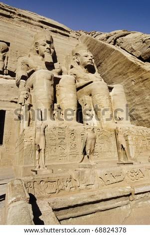 Abu Simbel Temple of King Ramses II, located in Eygpt - stock photo