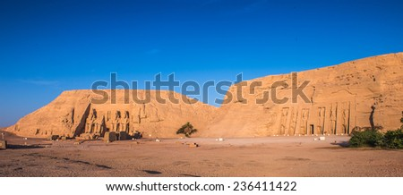 Abu Simbel temples on sunrise, Abu Simbel, Egypt. UNESCO World Heritage - stock photo