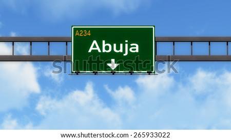 Abuja Nigeria Africa Highway Road Sign - stock photo