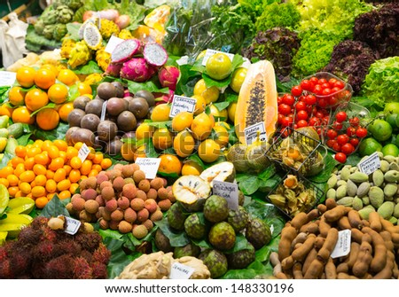 Abundance of fruits and vegetables in market