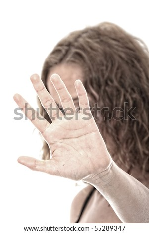 Abused young woman dramatic portrait - stock photo