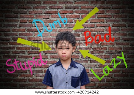 Abusive words hurt on the wall - stock photo