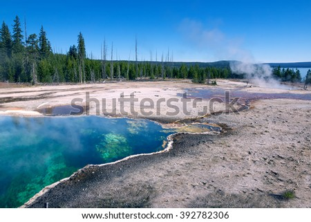 Abyss Pool is a hot spring in the West Thumb Geyser Basin of Yellowstone National Park in the United States - stock photo