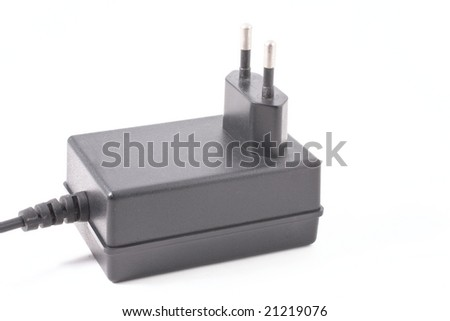 AC adapter isolated on white background - stock photo