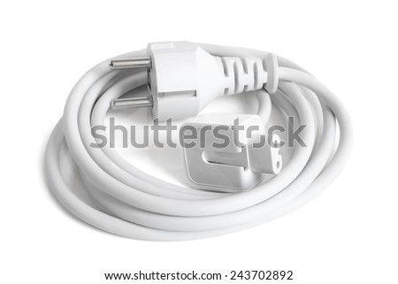 AC Power Cable Cord on white background - stock photo