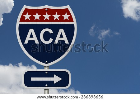 ACA Sign, A red, white and blue highway sign with words ACA and an arrow sign with sky background - stock photo