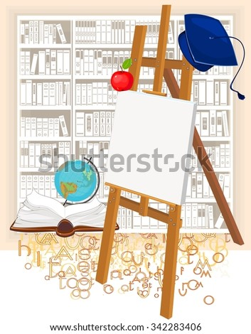 Academic cap and easel - stock photo