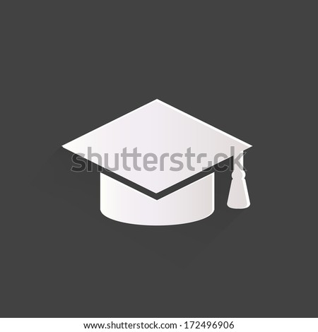 Academic cap icon. Study cap symbol - stock photo