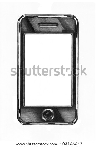 academic drawing of a smartphone - stock photo
