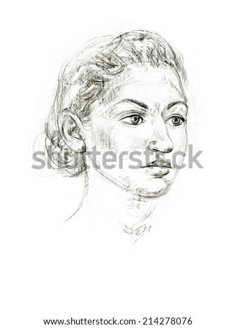 Academic drawing portrait. Hand-drawing in pencil - stock photo