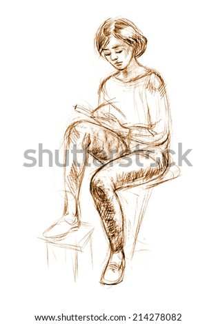 Academic figure drawing of a young girl. Hand-drawing in pencil - stock photo