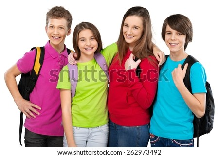 Academic. Portrait of smart schoolkids standing in line and looking at camera - stock photo