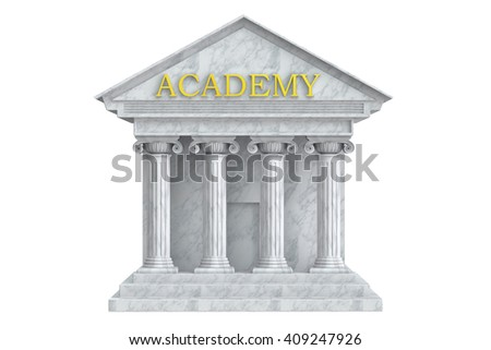 Academy building with columns, 3D rendering