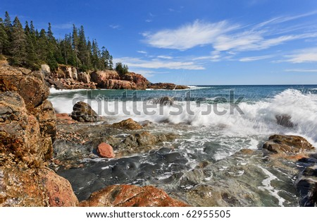 Acadia national park, incoming wave at Otter cliff area - stock photo
