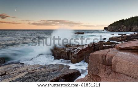 Acadia National Park, Otter Cliff shoreline at sunset - stock photo