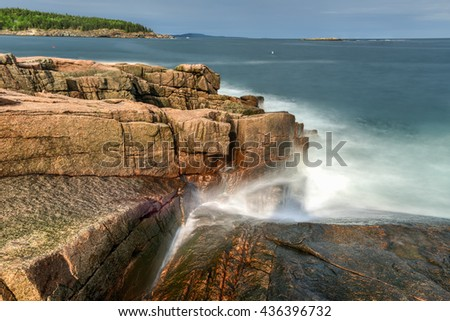 Acadia National Park rocky coast in Maine in the summer. - stock photo