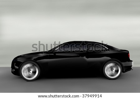 Acceleration - Black Executive Business Car - stock photo