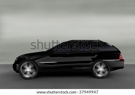 Acceleration - Black Luxury Suburban 4x4 - stock photo