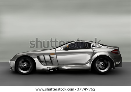 Acceleration - Silver Sportscar / Sports car - stock photo