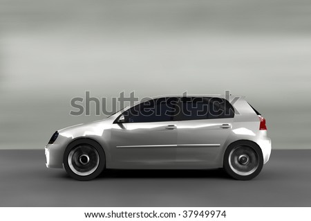 Acceleration - Small Silver sports hatchback - stock photo