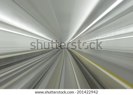 acceleration speed motion in tunnel - stock photo
