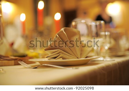 accent of decorative napkin - stock photo
