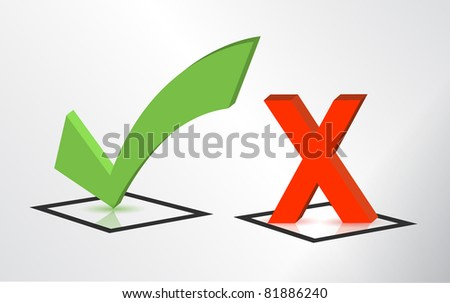 Accept and Decline check and x mark signs - stock photo