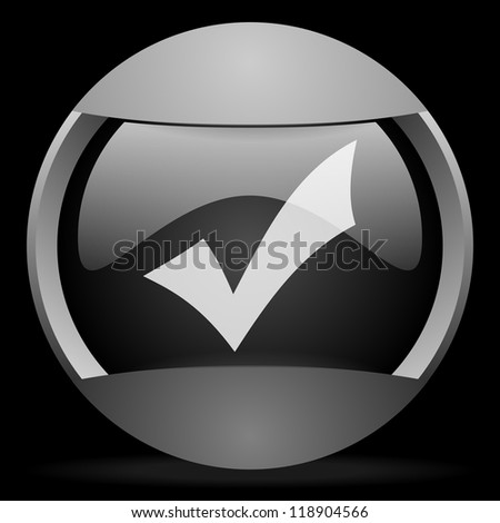 accept round gray web icon on black background