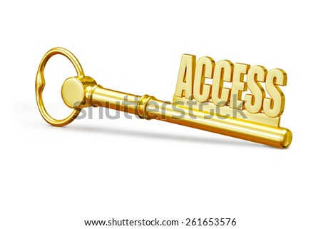 Access concept - golden access key made of gold isolated on white background - stock photo