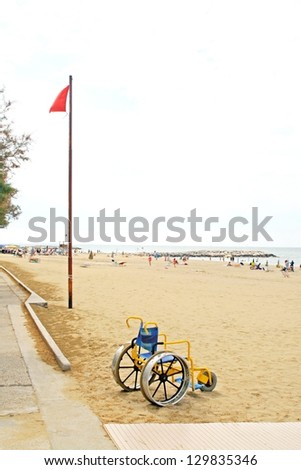 Accessibility for disabled people on the beach of the Sea - stock photo
