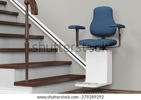 Accessible housing with stairlift on stairs in a house (3D Rendering) - stock photo