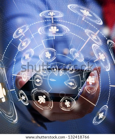 Accessing business network with smartphone - keep in touch through technology - stock photo