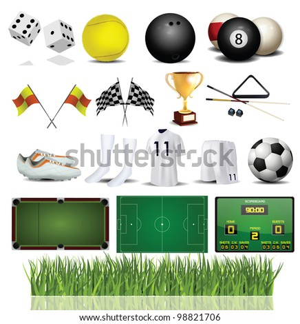 Accessories Collection of Various Sport - stock photo