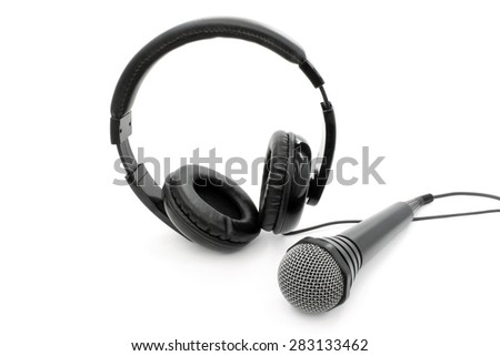 Accessories for karaoke on a white background - stock photo