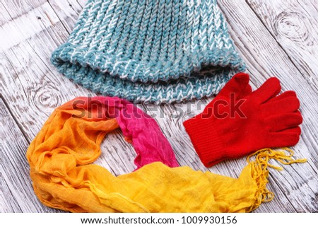 Accessories of red gloves, colorful scarf, and a knit hat .